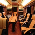 "Limo Bus, a luxurious coach, a ""moving conference center of the highest standards"""