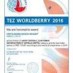 Σημαντική βράβευση του CretaMarisBeachResortαπό τους επισκέπτες του και το TEZTour!